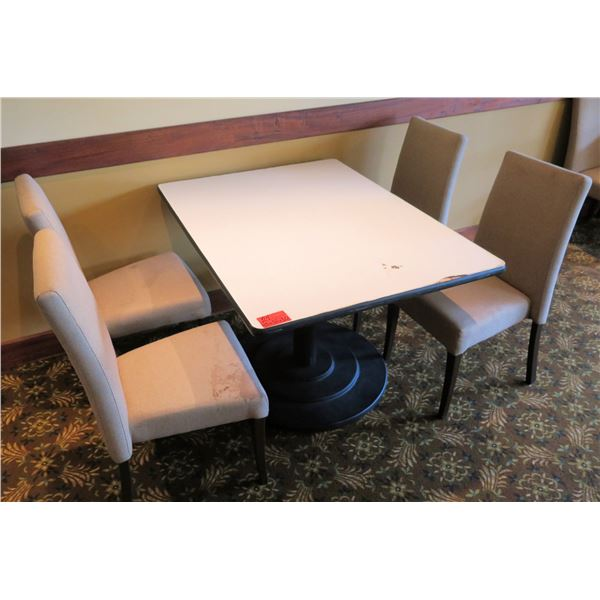 White Table w/ Pedestal Base 48 x36 x30  w/ 4 Upholstered Wooden Chairs