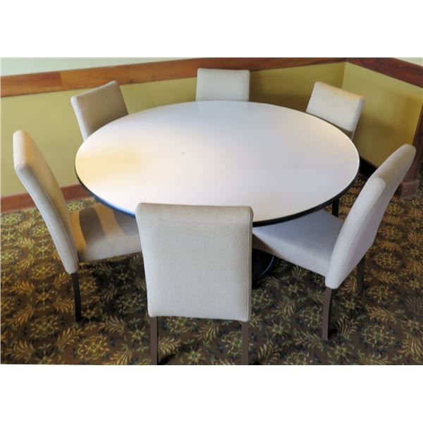 "Round White Table w/ Pedestal Base 48""x30"" w/ 6 Upholstered Wooden Chairs"