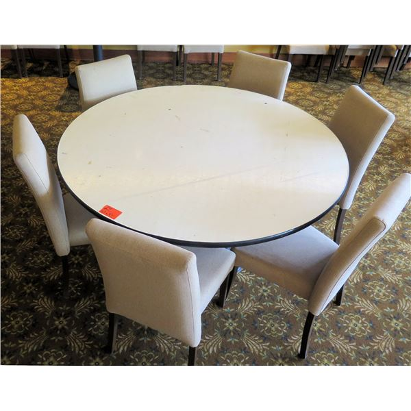 "Round White Table w/ Pedestal Base 60""x30"" w/ 6 Upholstered Wooden Chairs"