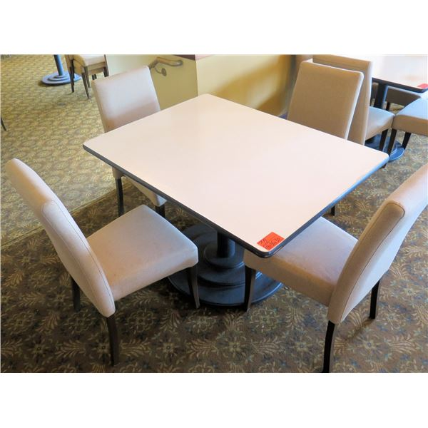 "White Table w/ Pedestal Base 48""x36""x30"" w/ 4 Upholstered Wooden Chairs"