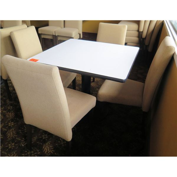 "White Table w/ Pedestal Base 36""x36""x30"" w/ 4 Upholstered Wooden Chairs"