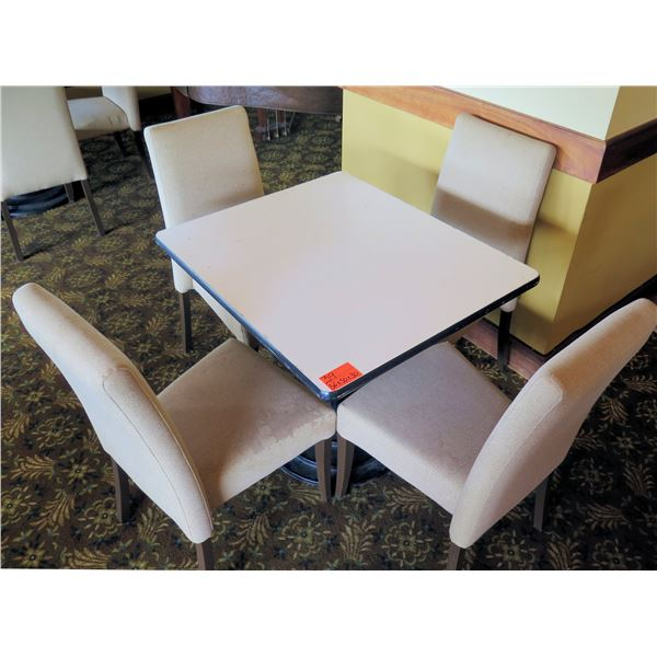 White Table w/ Pedestal Base 36 x36 x30  w/ 4 Upholstered Wooden Chairs