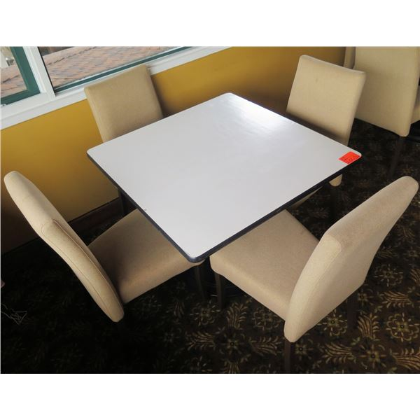 """White Table w/ Pedestal Base 36""""x36""""x30"""" w/ 4 Upholstered Wooden Chairs"""
