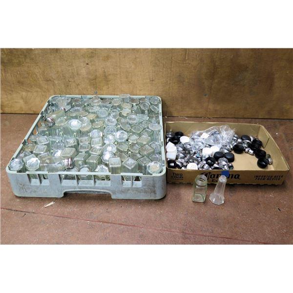 Qty 1 Rack & 1 Box Misc Glass Salt & Pepper Shakers w/ Metal & Plastic Lids