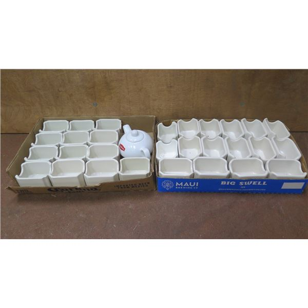 Qty Approx. 30 Hall USA White Sugar Packet Caddies 716 & Lipton Tea Pot