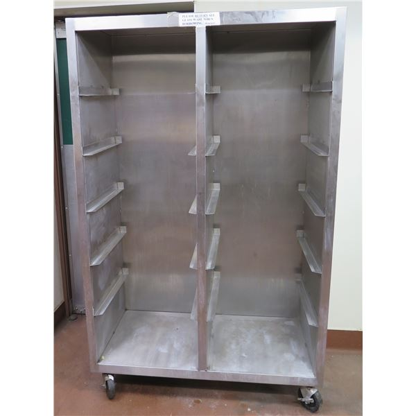"Metal Double Sided Sheet Pan Rack on Wheels 46""x21""x74""H"