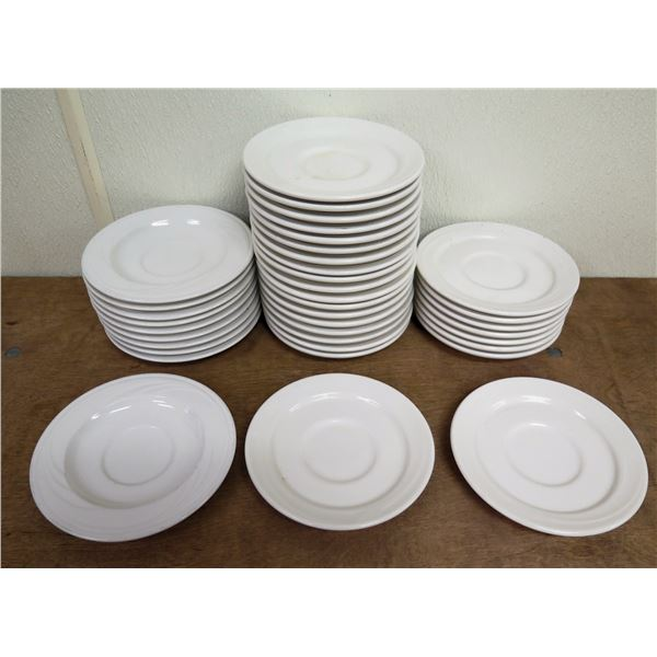 "Qty Approx. 37 Syracuse & Oneida White China Saucer Plates 5.5""-6"" Diameter"