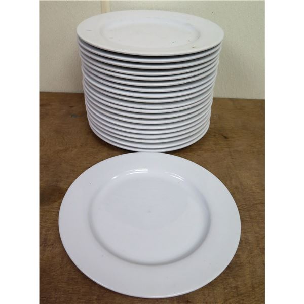 "Qty Approx. 20 Tuxton White China Dinner Plates 10"" Diameter"