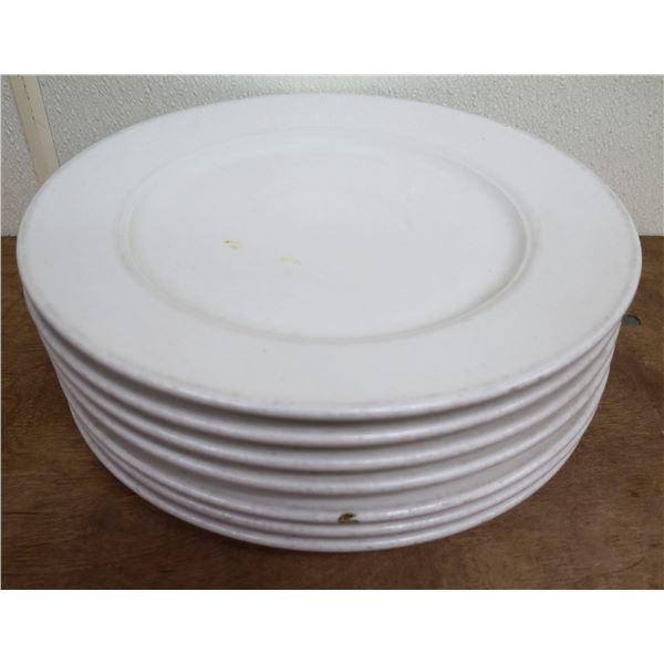 "Qty Approx. 7 Homer Laughlin Seville White China Dinner Plates 12"" Diameter"