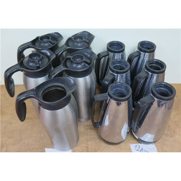 """Qty 5 Stanley Metal & 6 Plastic Thermal Insulated Coffee Pitchers Decanters 11""""H"""