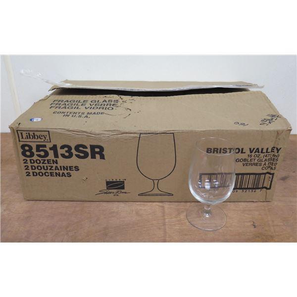 Box Qty 24 Libbey Bristol Valley 16oz Goblet Glasses 8513SR