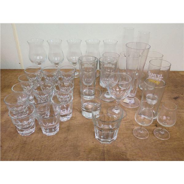 Multiple Glassware: 14 Highball, 5 Parfait, 2 Flutes, 8 Tea Glasses, etc