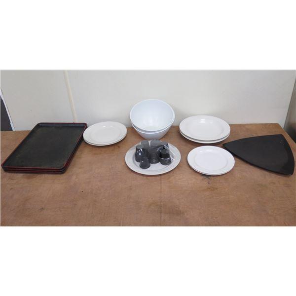 "Qty 3 Black Trays 14""L, 7 Homer Laughlin Plates 8""D, 2 Bowls, Ramekins, etc"