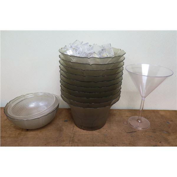 Misc Plastic Serveware: 3 Clear Bowls, 10 Flower Shape Bowls,  Plastic Hooks, etc