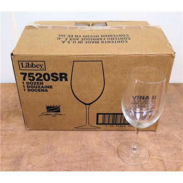 Box Qty 12 Libbey Vina II 18oz Wine Glasses 7520SR