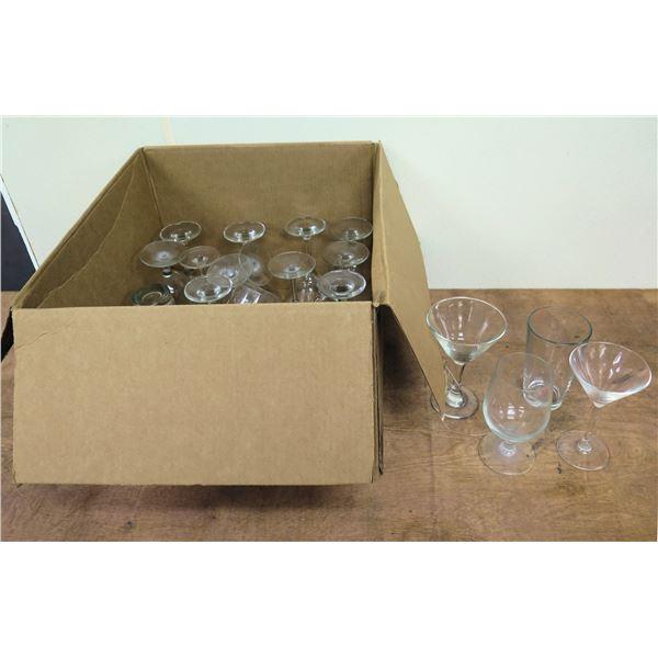 Box Qty Approx. 21 Misc Glasses:  Martini, Wine, Juice, etc