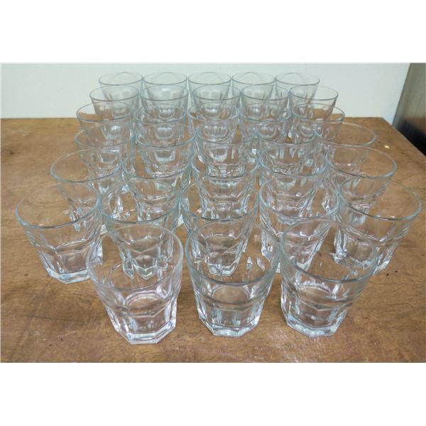 "Qty 37 Bucket Rocks Glasses 4""H x 3.5""D"