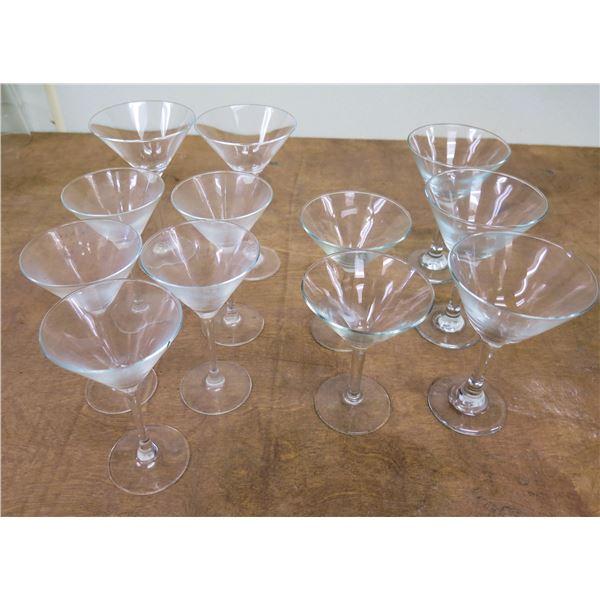 """Qty 11 Stemmed Martini Glasses 5.5""""-7.5""""H x 4""""D"""