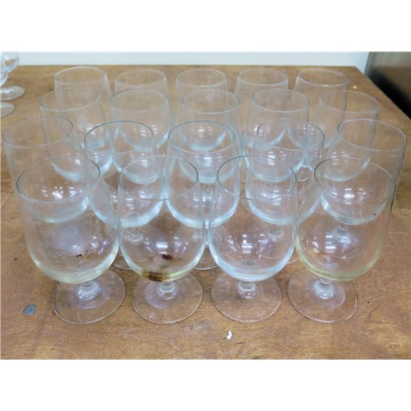 """Qty 19 Stemmed Wine or Water Glasses 6.5""""H x 3""""D"""