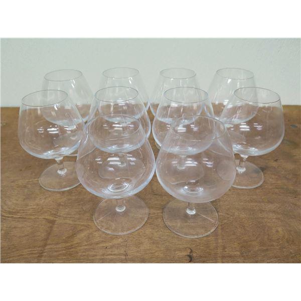 "Qty 10 Stemmed Brandy Snifter Glasses 6""H x 3""D"