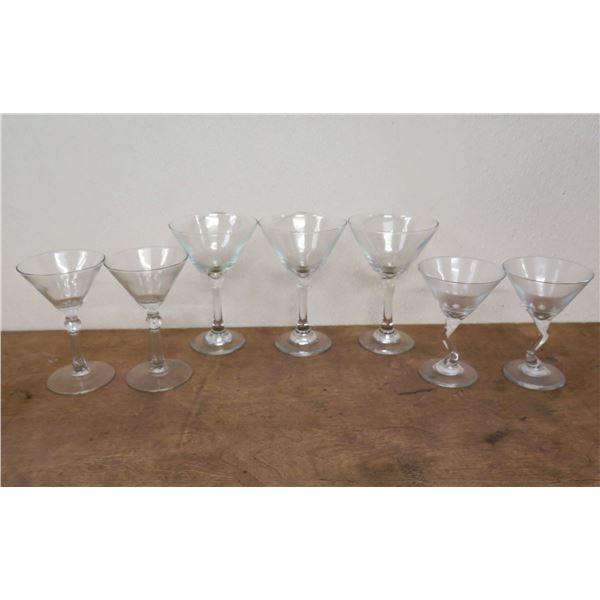 "Qty 5 Ribbed Stem & 2  'Z' Stem Martini Glasses 5""-6.5""H x 4""D"