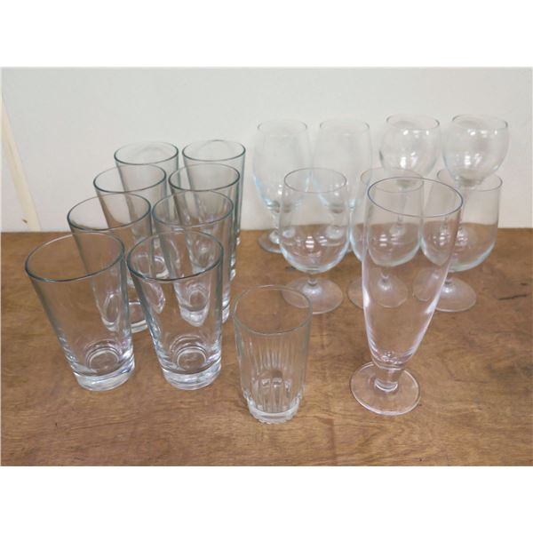 Misc Glassware: 8 Tea Glasses, 3 Wine Glasses, 3 Goblets, Footed Beer Glass, etc