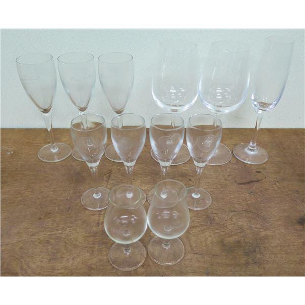 Misc Glassware: 2 Hennessy Glasses, 2 Eiseh Wine Glasses, 4 Signed Glasses, etc