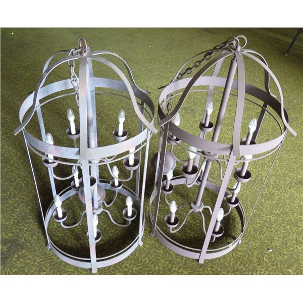 "Qty 2 Metal Hanging Chandeliers w/ 10 Candle Shape Lights 42""L x 22""D"