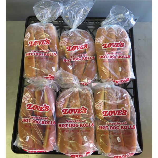 Qty 6 Packages Love's Sweet Bread Hot Dog Rolls