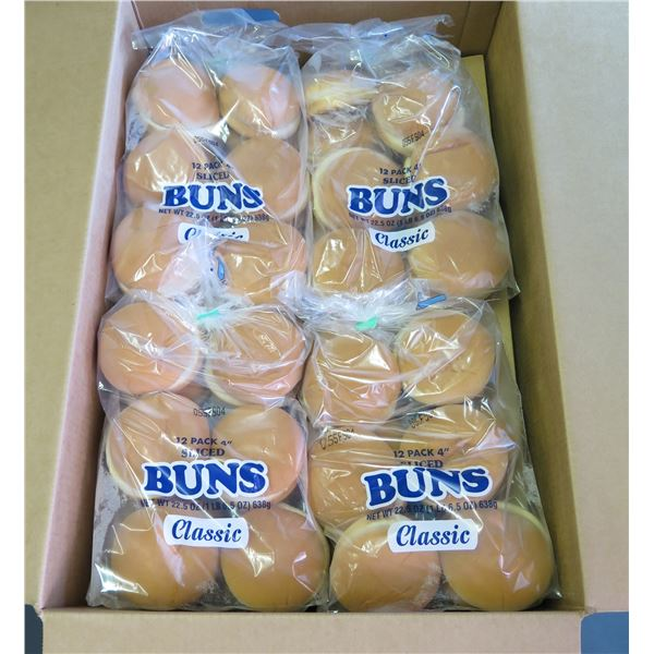 "Qty 12 Packages Love's 4"" Plain Hamburger Buns (Military)"