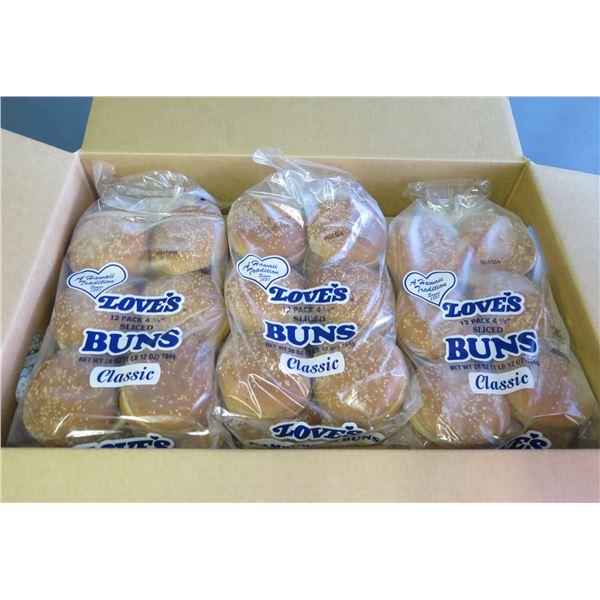 "Qty 9 Packages Love's 4.5"" Sesame Hamburger Buns (Gourmet)"