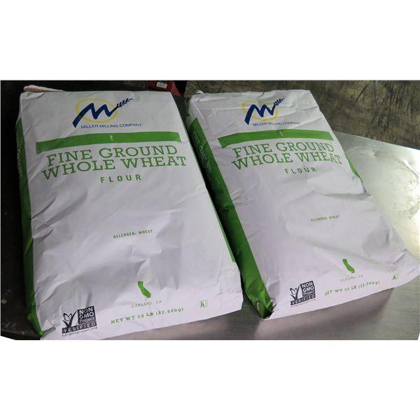 Qty 2 Miller Milling Co. 50-lb Fine Ground Whole Wheat Flour Bags