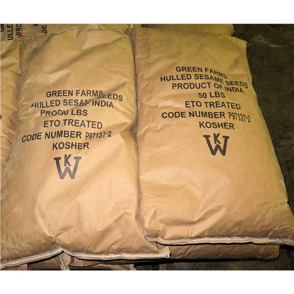 Qty 2 Green Farms 50-lb Kosher Hulled Sesame Seeds Bags