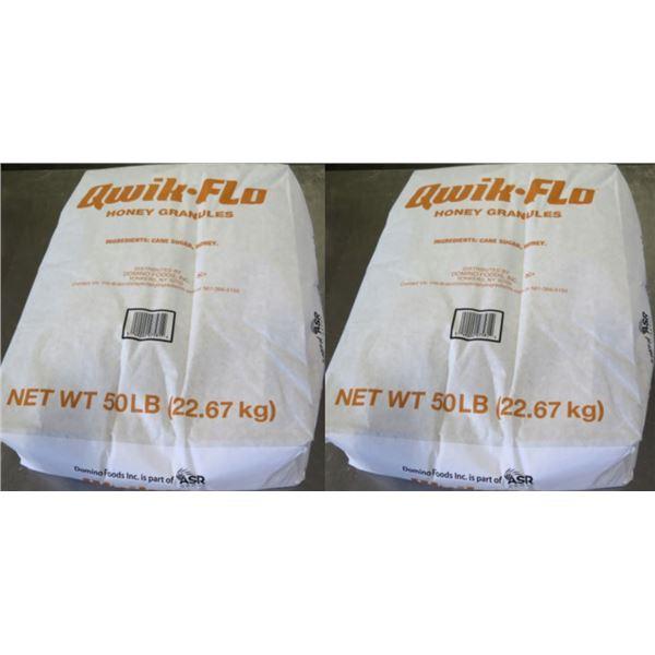 Qty 2 Domino's Food 50-lb Qwik-Flo Honey Granules Bags