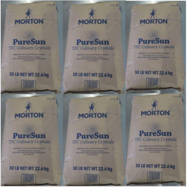 Qty 6 Morton 50-lb Pure Sun TFC Culinary Crystals Bags