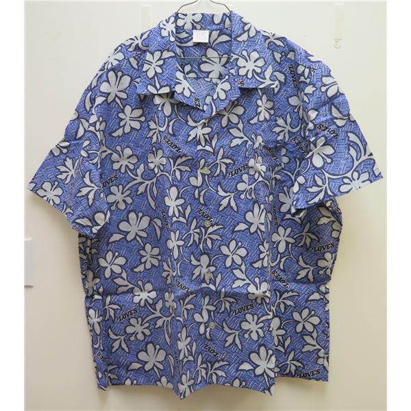 Love's Blue & White Floral Print Button-Up Shirt, Size 4X