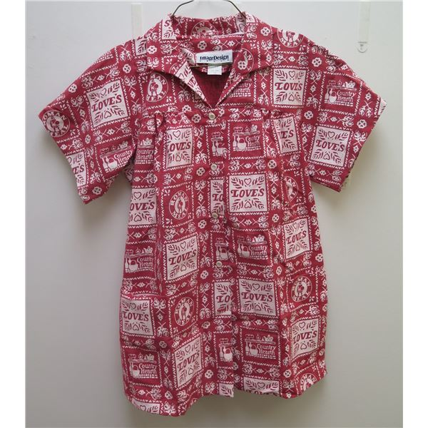 Love's Red & White 'Country Hearth' Button-Up Shirt w/ Bottom Pocket, Size 12