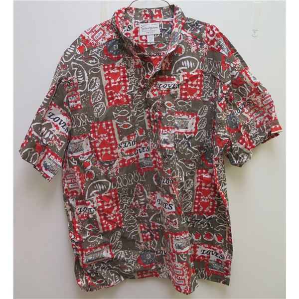 Love's Red & Gray Button-Up Shirt w/Fish Motif, Size XL