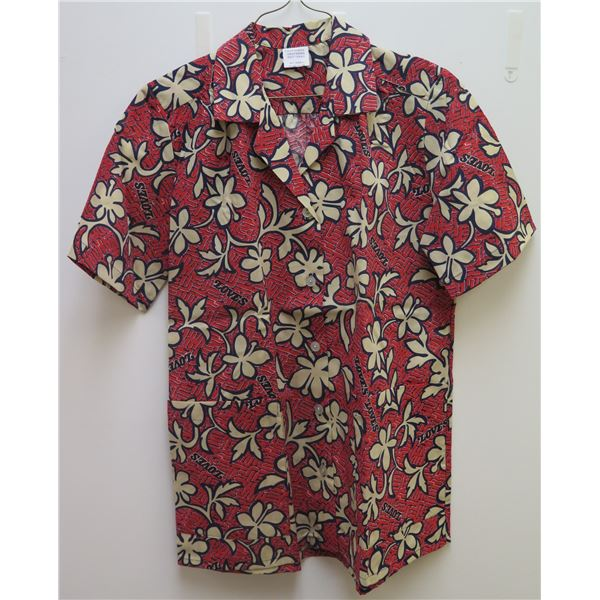 Love's Red Floral Print Button-Up Shirt, Size Adult Small