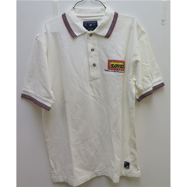 Love's White Polo Shirt, Embroidered Size Small