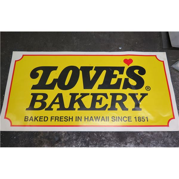 Love's Bakery Baked Fresh in Hawaii Paper Sign 36  x 18