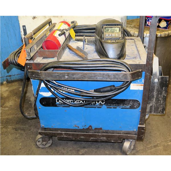 Miller Dialarc 250 AC/DC Constant Current Welder on Cart w/ Fire Extinguisher