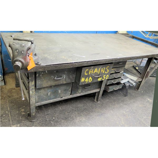 Metal Shop Table w/ Mounted Wilton Tool Co. Vise 96 x48 x33  Ht. (Pick Up By Appointment Wed-Sat)