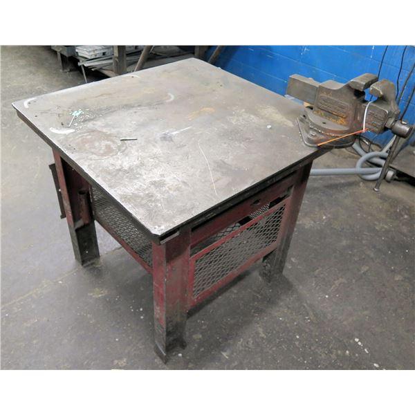 """Square Metal Shop Table w/ Drawer & Ridgid Vise No. 4 Steel Edge 36""""x36""""x33"""" Ht."""