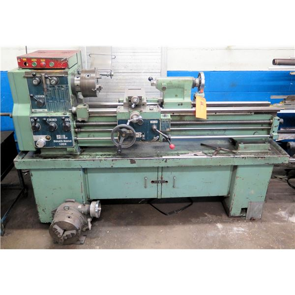 South Bend 1308 Geared Head Lathe w/ Storage Underneath & Misc Tools (Pick Up By Appointment Wed-Sat