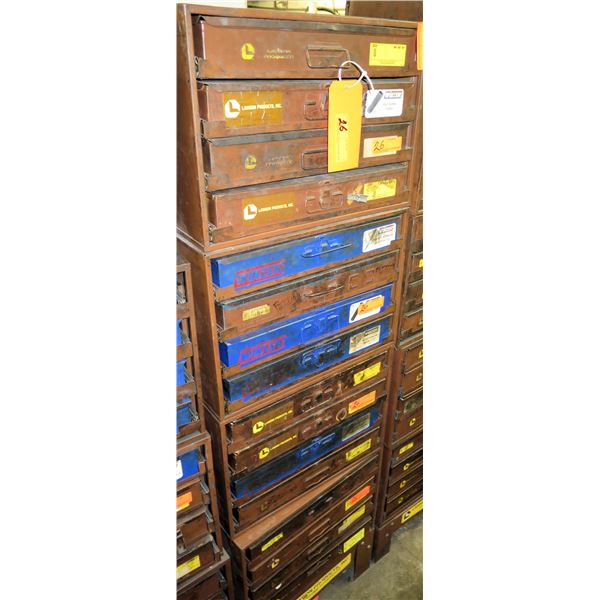 Lawson Products Metal 16 Drawer Storage Cabinet w/ Contents Included