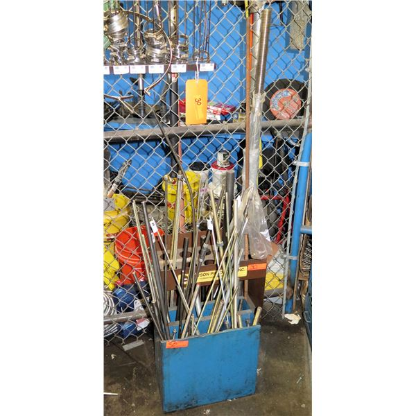 Multiple Rods, Threaded Pipe, Hose Clamps, etc in Bin