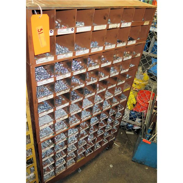 Metal 96 Compartment Storage Cabinet w/ Hardware, Nuts, Washers, etc