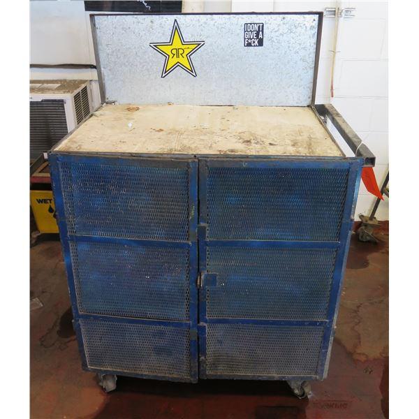 "Metal 2 Door Cabinet w/ Inside Shelving & Raised Edge on Wheels 36""x24""x53"" Ht."