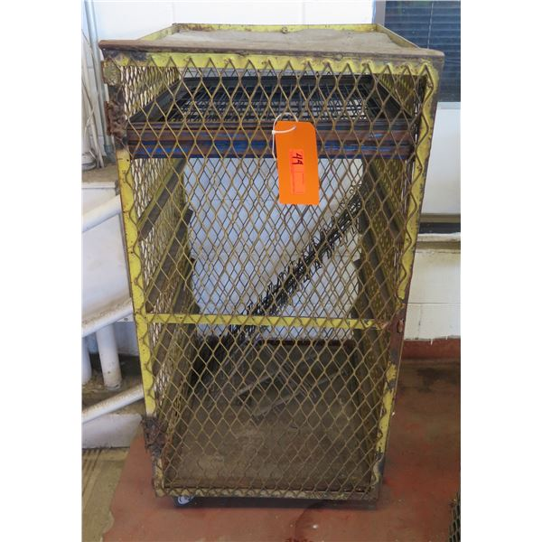 "Metal Wire Single Door Storage Cabinet on Wheels 22""x26""x47"" Ht."